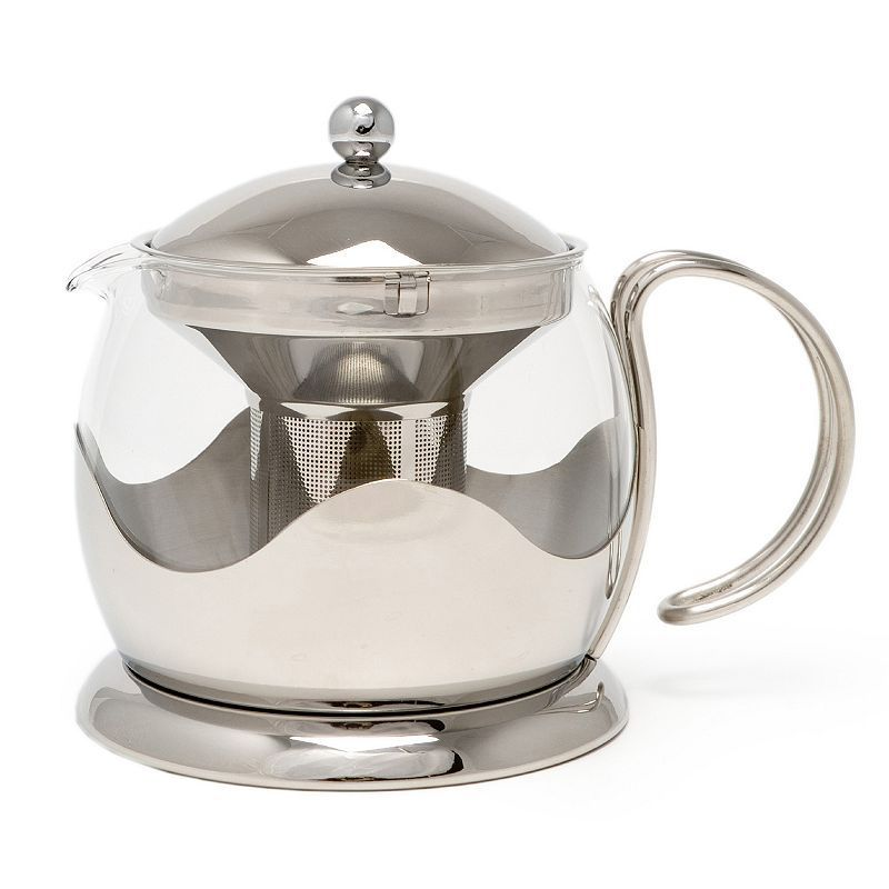 La Cafetiere Stainless Steel 4 Cup Teapot Silver Tea Pots Glass Teapot Vintage Stainless