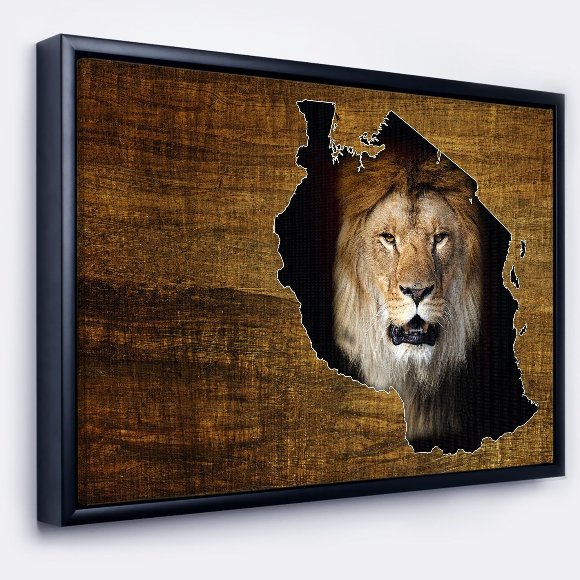 Designart Tanzania Wildlife Map Design Abstract Framed Canvas Artwork