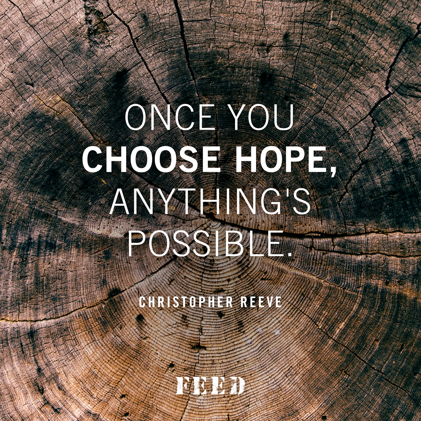 Once you choose hope, anything's possible. Christopher