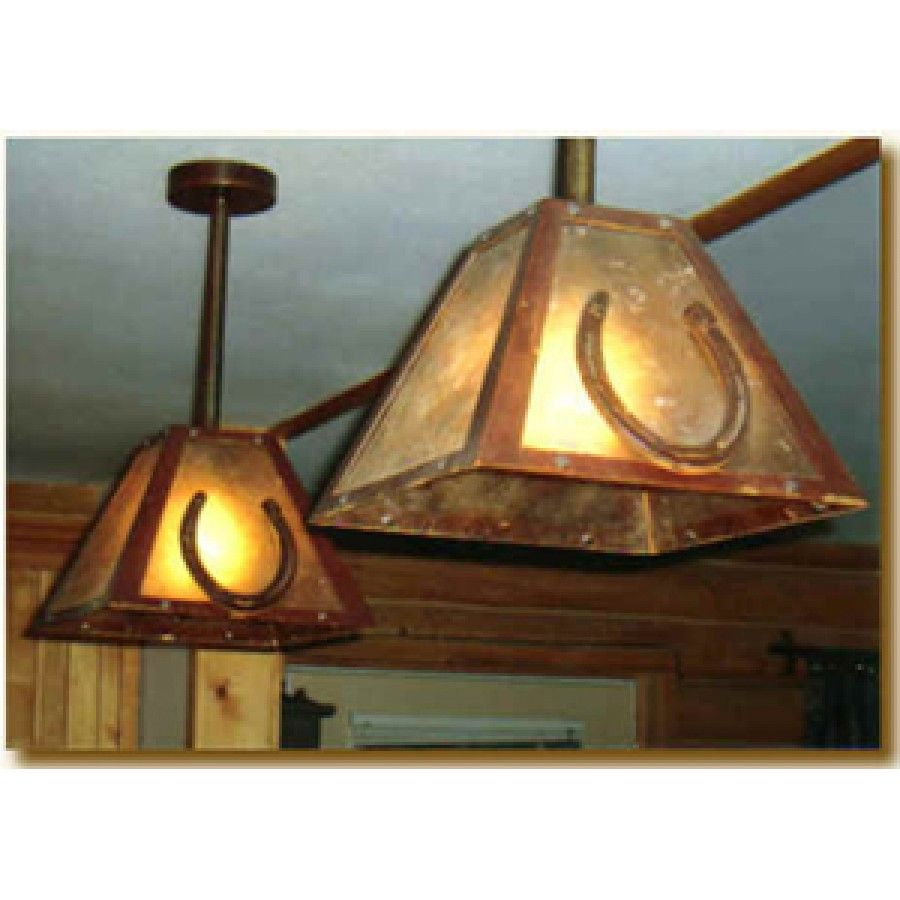 Western Style Ceiling Light Fixtures: Horseshoe Pendant Light Horseshoes Accent And Make Up This