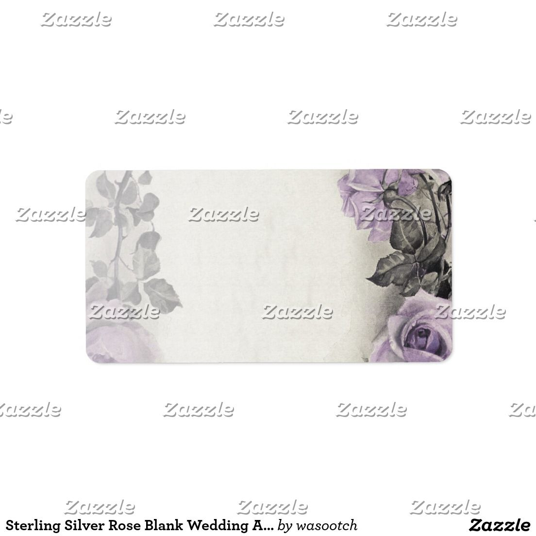 sterling silver rose blank wedding address labels wedding address