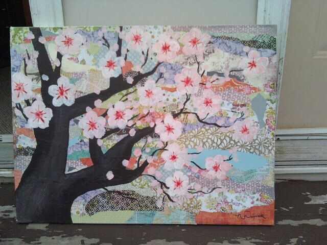 Paper Mache Canvas With Cherry Blossom Tree Painted With