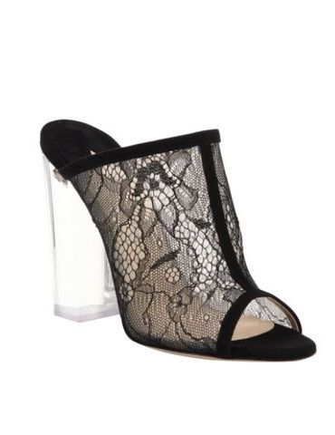 Paul Andrew Celeste Lucite-heel lace & suede peep-toe mule sandal
