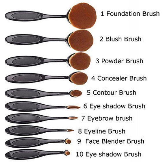 Photo of 10 Piece Oval Brush Set – Black or Rose Gold