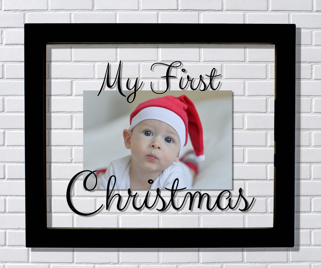 my first christmas frame floating frame photo picture frame babys first christmas 1st decor holidays gift present modern minimalist by burntbranch on