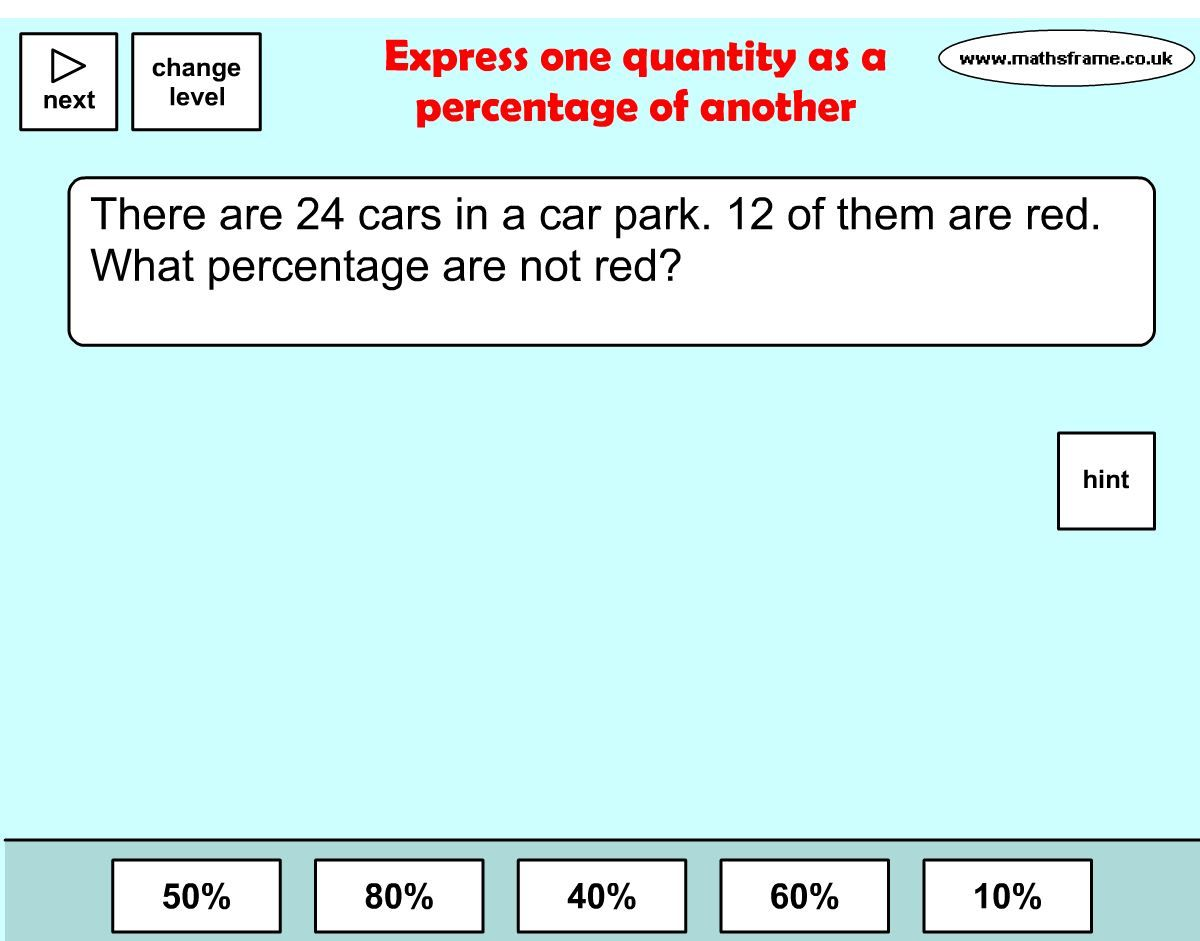 Find the percent. Choose from word problems, number problems, or ...