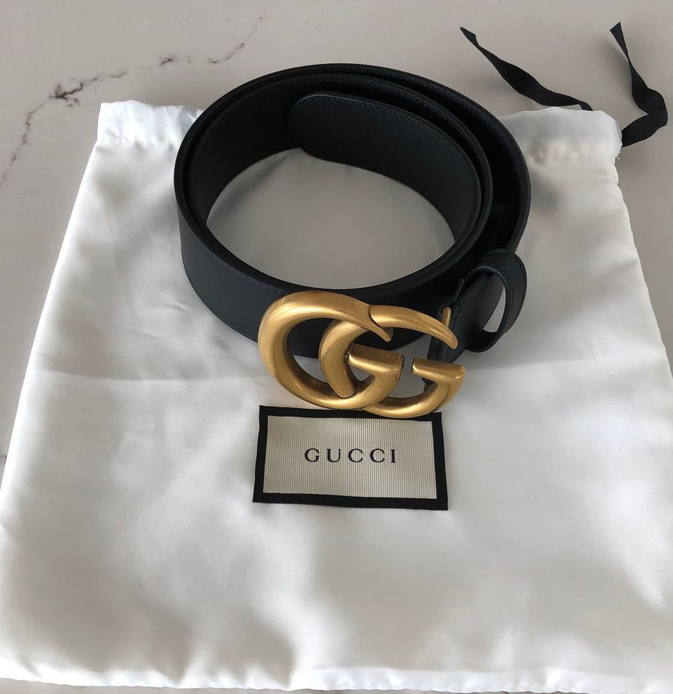02fdd5b07f4 Authentic Gucci Belt Marmont GG Gold Buckle Black leather Size 32 80- SOLD  OUT