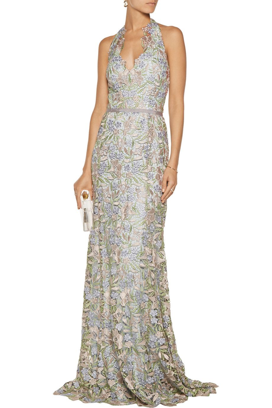Shop On Sale Marchesa Notte Lace Halterneck Gown Browse Other