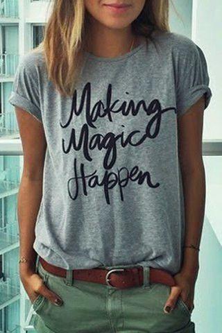3e0a0531c4 Making magic happen tee | Style | Fashion, T shirts for women, Khaki ...