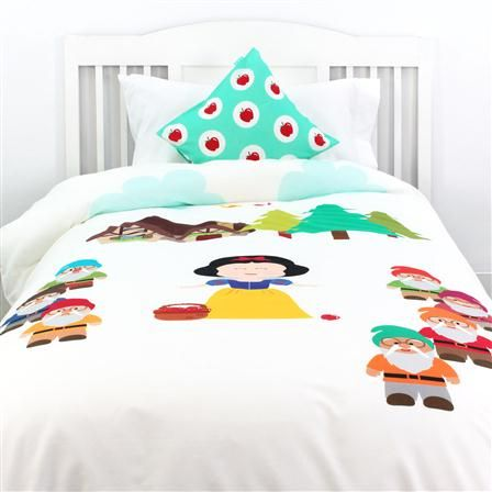 mr fox parure de lit 140 x 200 cm blanche neige et les 7 nains chambre enfant pinterest. Black Bedroom Furniture Sets. Home Design Ideas