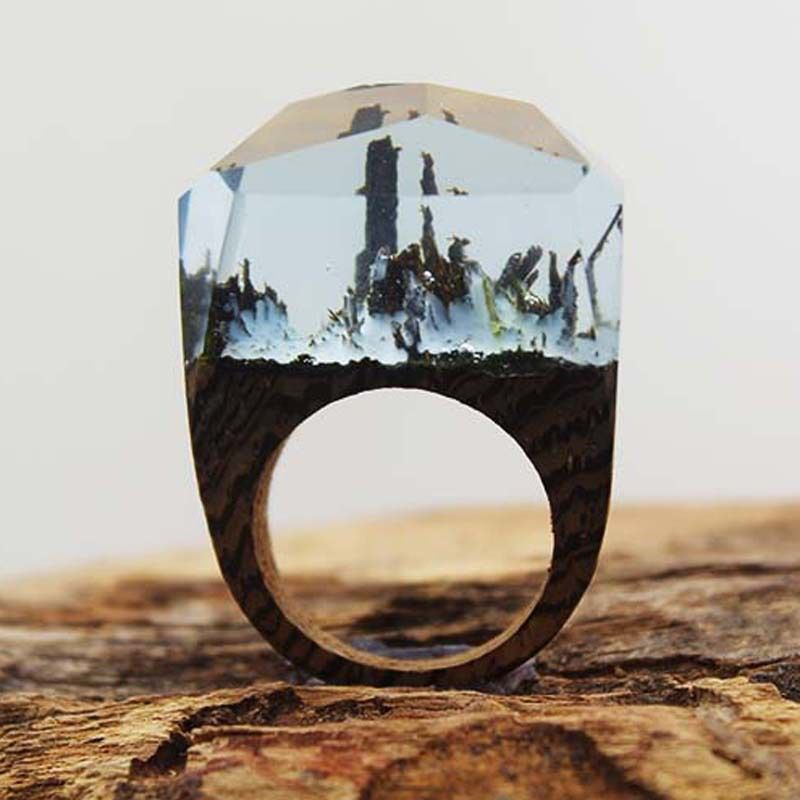 Ou Acheter De La Résine Pour Faire Des Bijoux Find More Rings Information About Hot Secret Wood Ring Snowland Worlds Encapsulated Within Wood And Resin Ring Secret Wood Rings Handmade Wood Rings Wood Rings