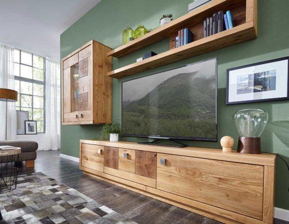 Natura Wisconsin Wohnwand aus Massivholz Viel Platz für Hifi, TV