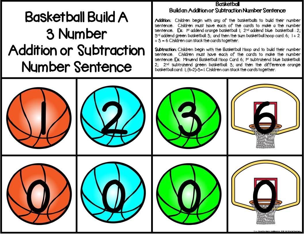 Basketball Build 3 Addend Addition Amp Subtraction Number