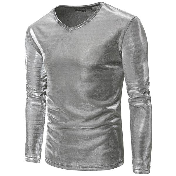68999c6f08021 Mens Fashion Personalized Nightclub Solid Color Long Sleeve Bright Casual T- shirt