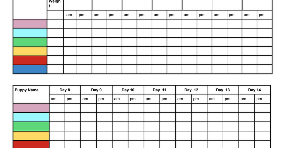 FREE Printable Whelping Litter Weight Charts, Chart for ...