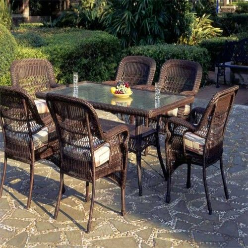 Retail $2599, Our Price $1945. Outdoor Patio Furniture. South Sea Rattan Furniture W/ Sun… | Outdoor Patio Furniture, Wicker Dining Tables, Modern Outdoor Furniture