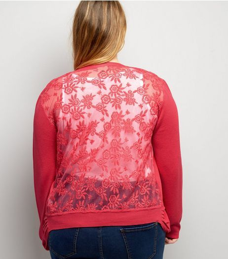 Curves Bright Pink Lace Back Cardigan | New Look | Cardigans For ...