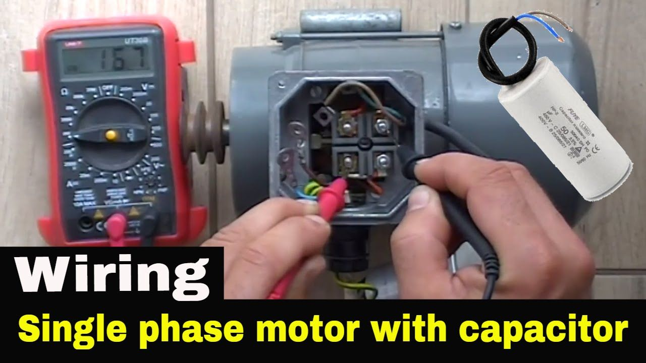 How To Wire Single Phase Motor With Start Run Permanent Capacitors Capacitors Electrical Circuit Diagram Motor