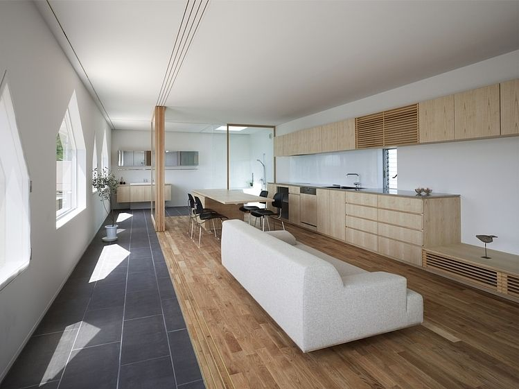 Awesome grey sofa and wooden kitchen counter inside the house jigozen suppose design office open floor plan also in by moderno pinterest rh za