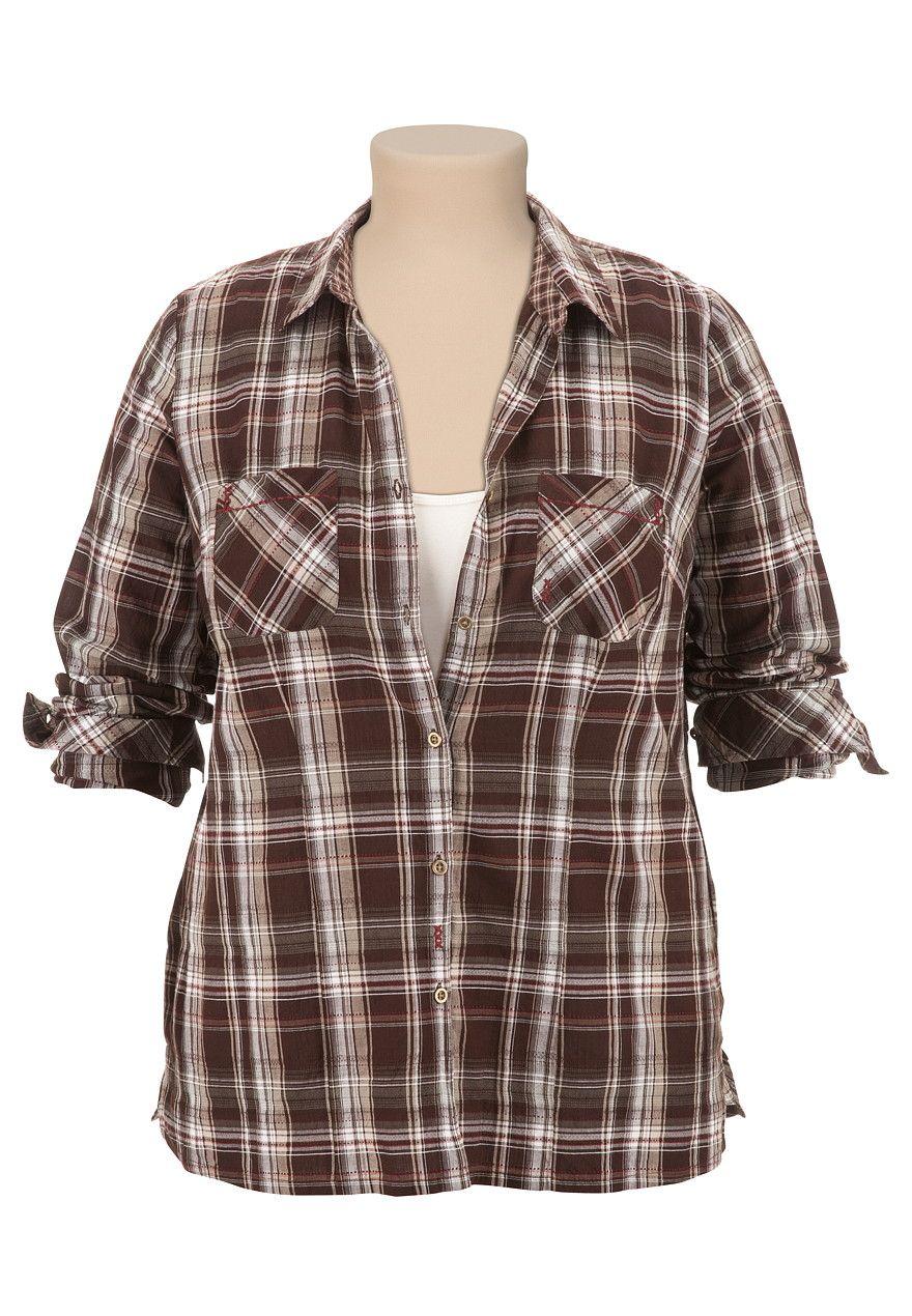 Long Sleeve Textured Plaid Shirt - maurices.com