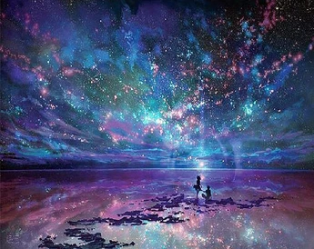 Star Starry Night Diamond Painting Square In 2020 Ocean Landscape Anime Scenery Background Images Wallpapers