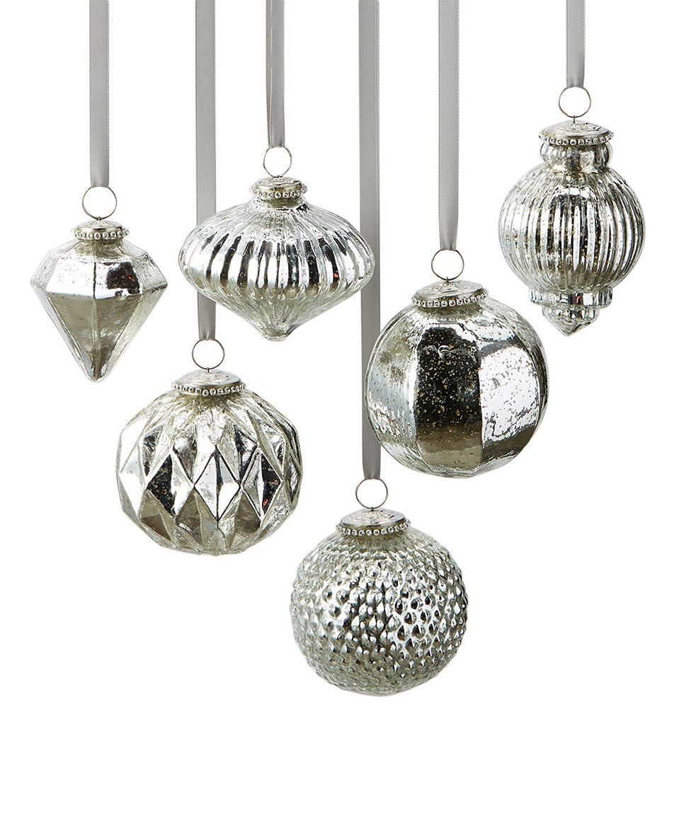 Mercury Balls Decorations Take A Look At This Silver Sixpiece Mercury Ball Ornament Set