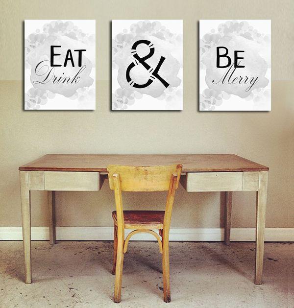 Eat Drink Be Merry Kitchen Sign, Kitchen Print, Kitchen