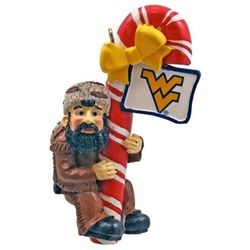 West Virginia Mountaineers Candy Cane Tree Ornament