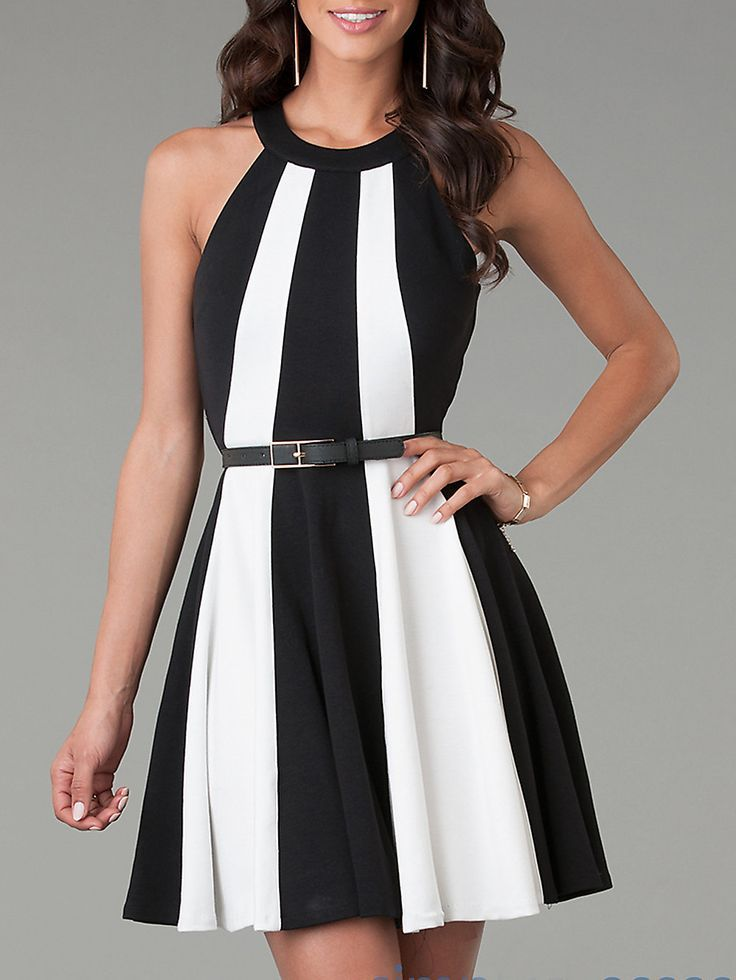 White Black Sleeveless Color Block Flare Dress