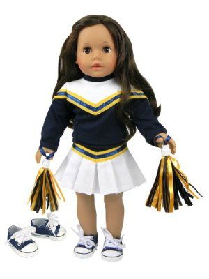 Doll Clothes Cheerleader Blue and Gold with Sneakers fit 18 inch American Girl