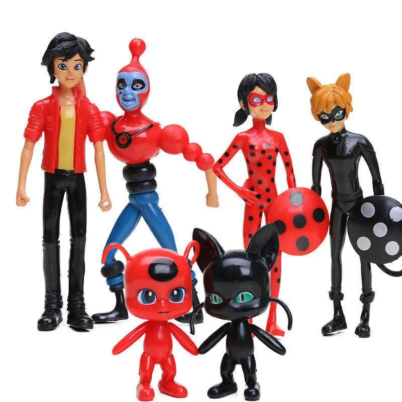 Miraculous Ladybug Tikki Noir Cat Plagg Adrien Action Figures Doll Toys 6PCS US