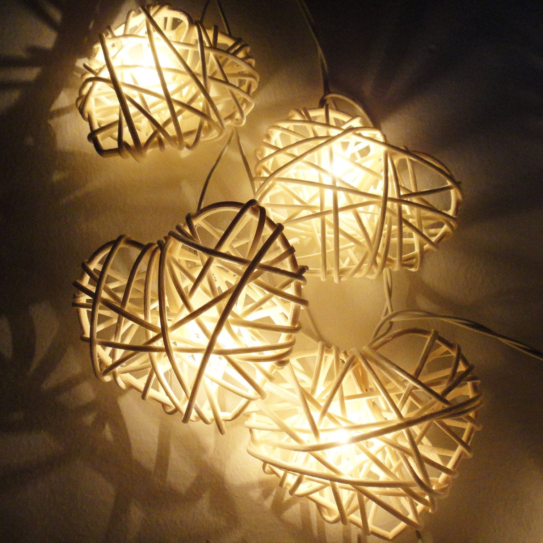 Battery or Plug 20 White Heart Rattan Lover Fairy Lights String ...