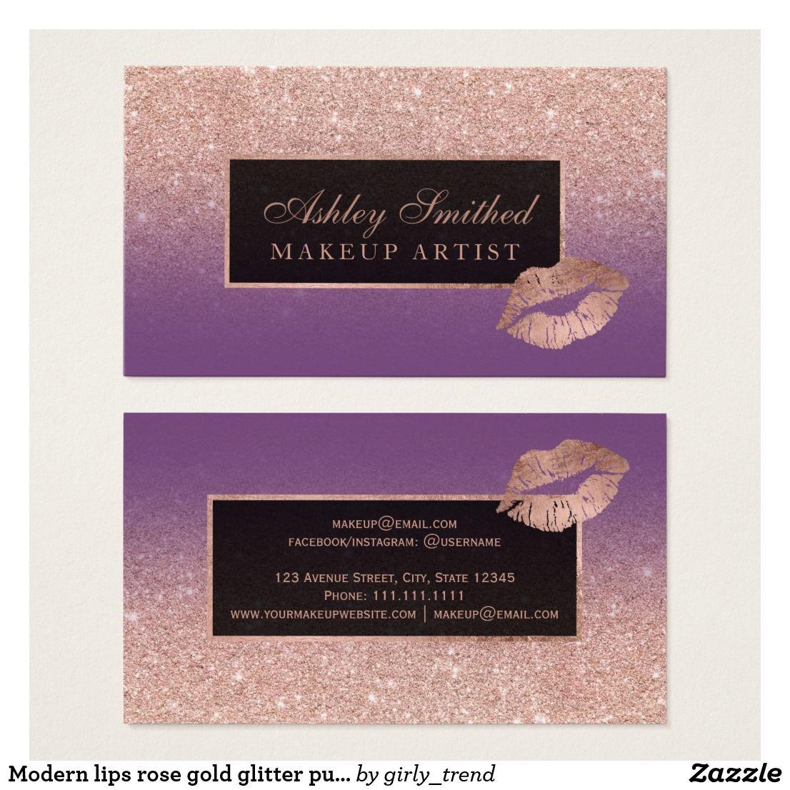 Modern lips rose gold glitter purple ombre makeup business card ...