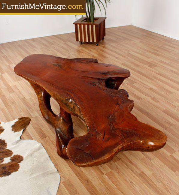 Massive vintage rustic teak root slab table