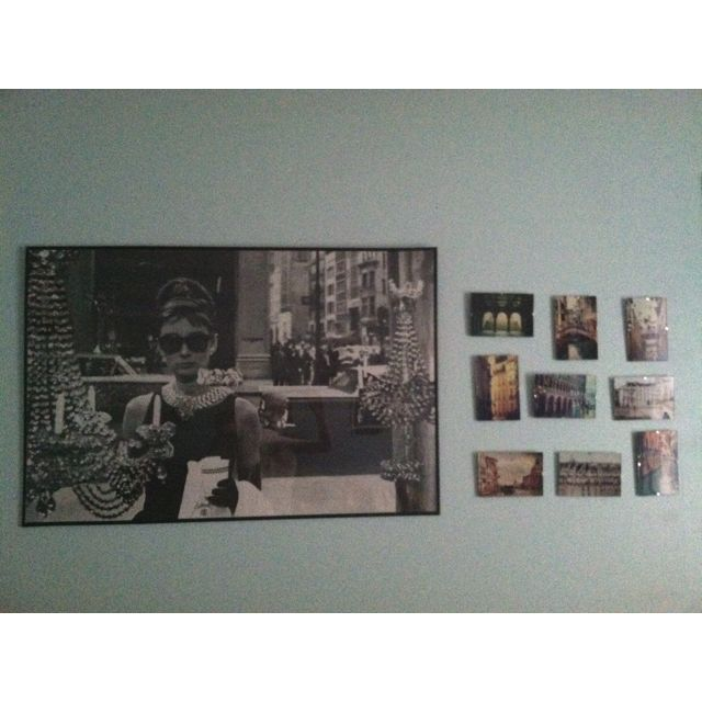 The Audrey Hepburn/travel the world wall in my bedroom.