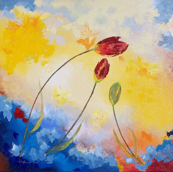 Original floral painting of red tulips, spring tulips, authentic ...