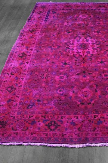 Over Dyed Floral Medallion Persian Wool Rug Hot Pink