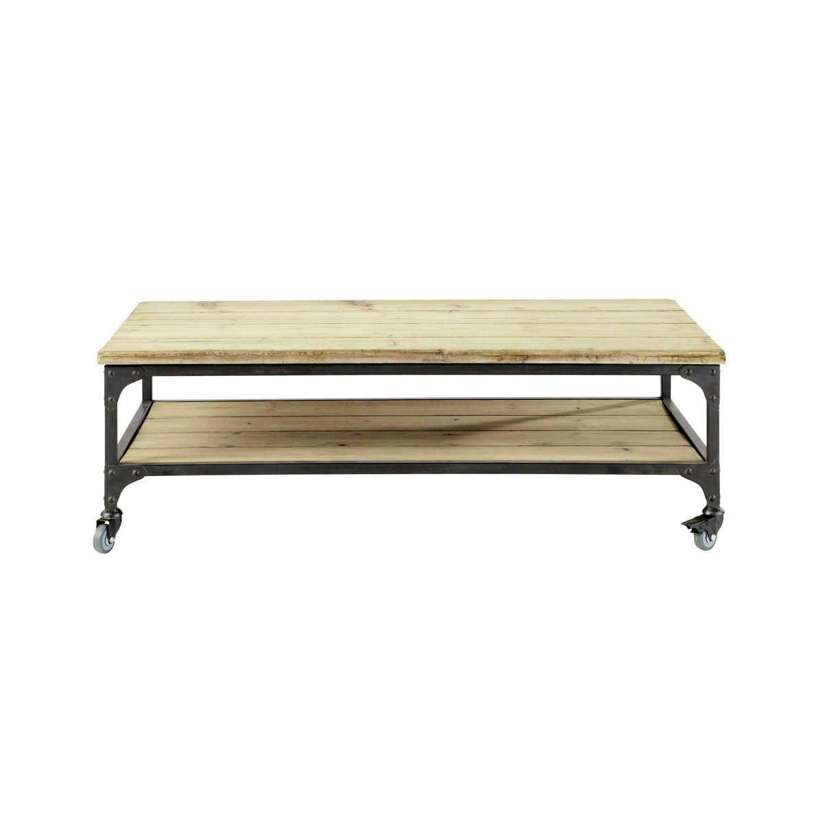 Rollcouchtisch im Industrial-Stil aus Holz und Metall, B 110 cm ...