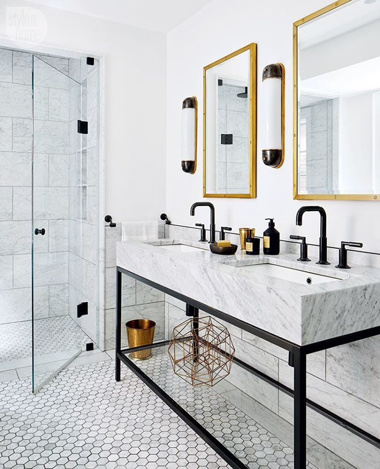 Here's how to design a sleek bathroom that's not too stark. See more at Interiors > Bedroom > Sophisticated and Serene Master Bedroom. {Photo: @donnagriffith | Design: Croma Design's Ryan Martin and Amy Kent | Styling: @chanlonprops}