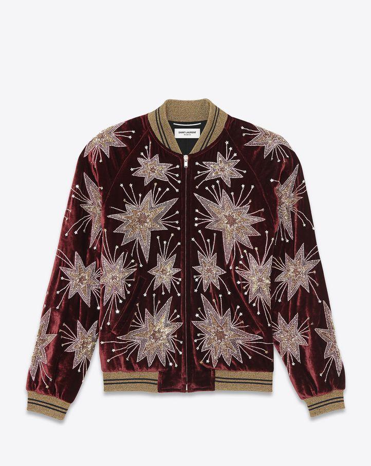 fee83574af9 saintlaurent, Starburst Teddy Jacket in Bordeaux Velour | Outerwear ...