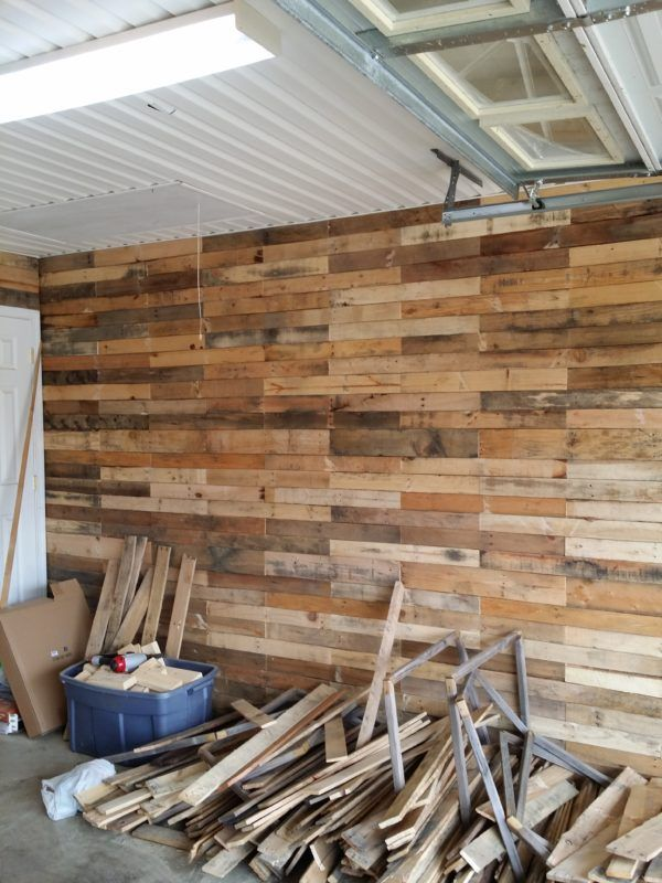 Garage Transformed Into Super Pallet Garage   Rustic   Pinterest     Garage Transformed Into Super Pallet Garage  Pallet Wall Decor   Pallet  Painting Pallet Walls   Pallet Doors