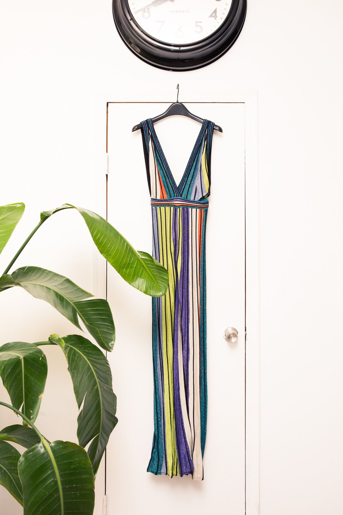 Inside The Closet of  The Cut Fashion Editor Lindsay Peoples: Lindsay Peoples on working two jobs while interning, wearing furs as a toddler, and faux pushes for diversity in fashion. -- Striped blue, yellow and green dress.  | Coveteur.com
