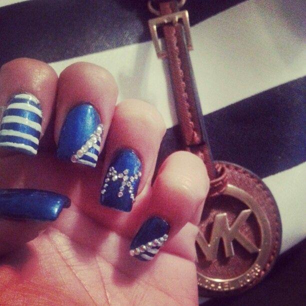 Michael kors, nail art, blue, rhinestones mk, got inspired by ...
