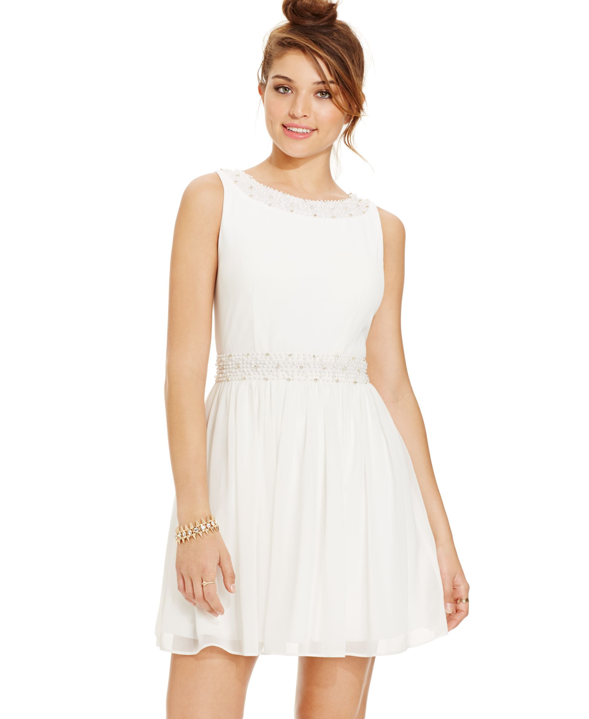 City Studios Juniors' Embellished Sleeveless Dress Fit