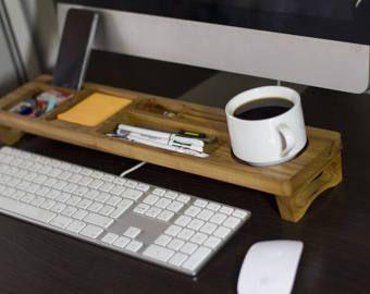 Cherry Wood Office Desk Organizer Desktop Shelf Home Keyboard Rack Wooden Storage Accessories Gift For All