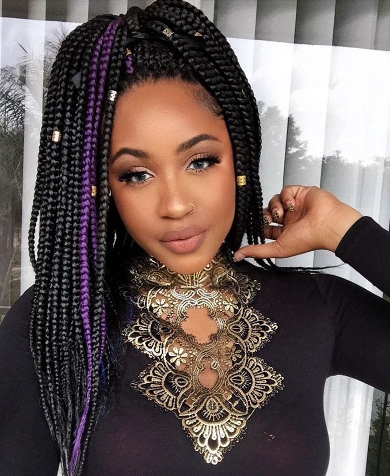 purple & black box braids