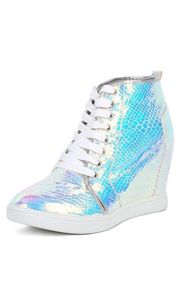 e1a641b9c36 Bumper Nicholas-08 Hologram Wedge Sneakers SILVER