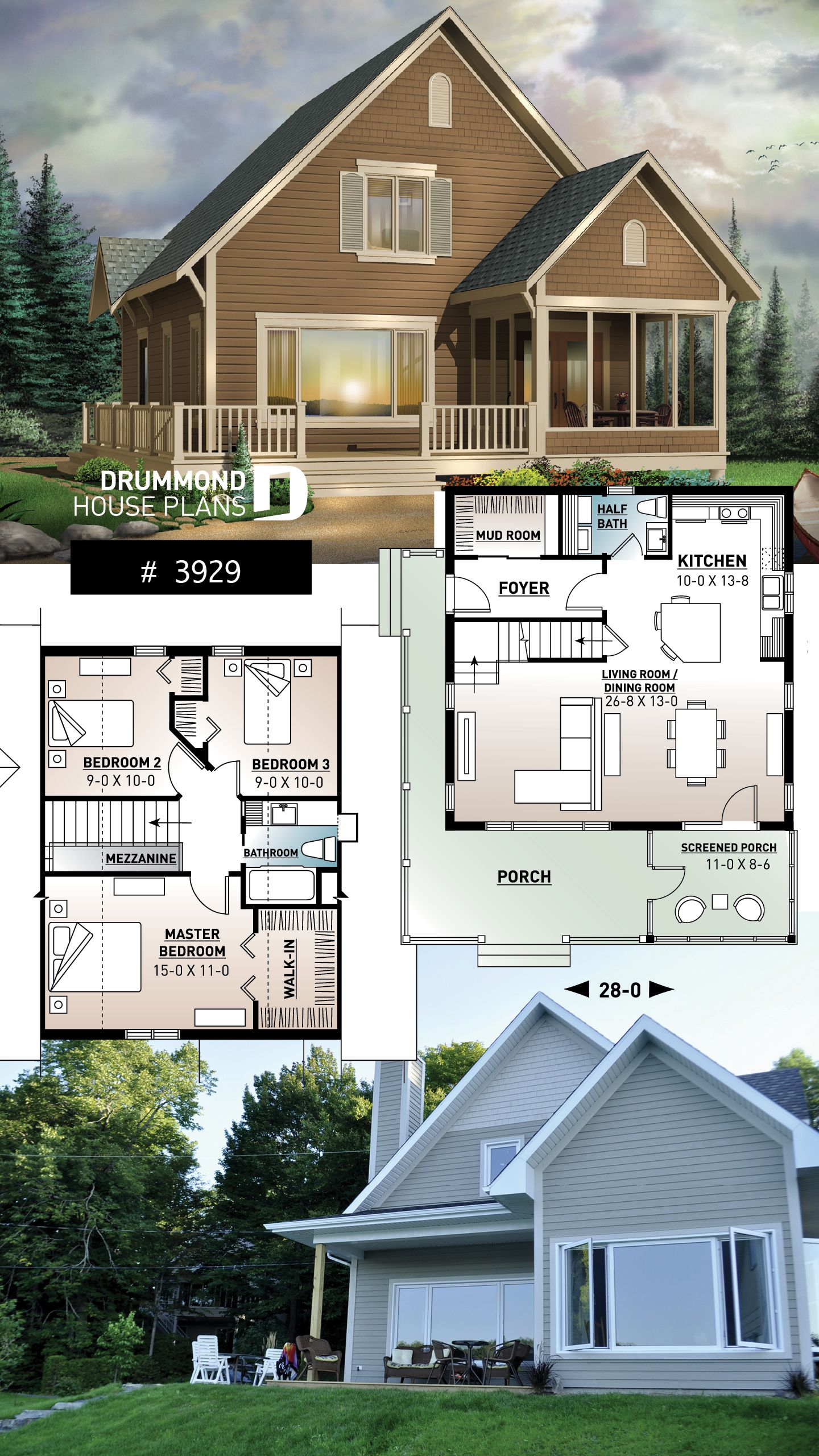Discover The Plan 3929 Rivendell Which Will Please You For Its 3 Bedrooms And For Its Cottage Chalet Cabin Styles Sims House Plans Cottage Plan Cottage House Plans