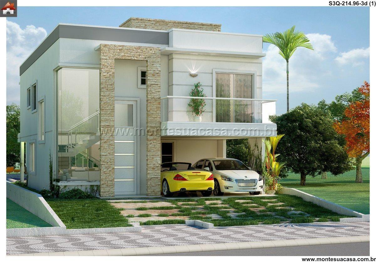 Sobrado 3 quartos projetos prontos for Fachadas de casas modernas de 2 quartos