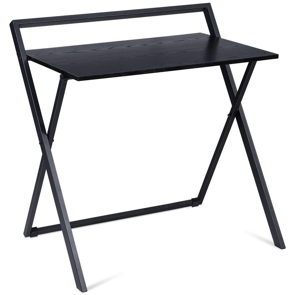 Costway 23 In Rectangular Black Laptop Desk With Open Storage Hw60471 The Home Depot In 2020 Folding Computer Desk Laptop Table Computer Desk